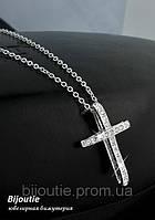 Кулон БЕЛЫЙ КРЕСТ ювелирная бижутерия родий декор кристаллы Swarovski