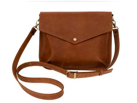Компактна жіноча сумочка з натуральної шкіри Flapbag mini ocher