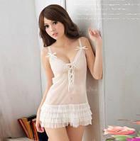 Сексуальный комплект эротического белья, сексуальный белый пеньюар и стринги, сексуальное платье, S-M