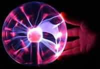 """Плазменный шар Plasma ball 5"""" детский светильник, шар излучает маленькие молнии, чувствителен к прикосновениям"""