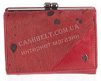 Классический компактный женский кожаный кошелек с мехом нерпы высокого качества CAPRI art. 4055060A красный