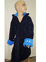 Халат махровый детский на 14-16 лет синий 164