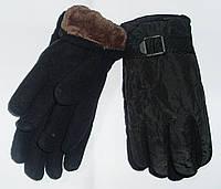 Зимние мужские трикотажные перчатки с меховым утеплителем