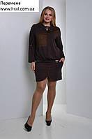 Трикотажное платье Шахматка (размеры 48-54)