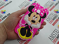 Объемный 3D силиконовый чехол для Samsung Galaxy J3 J320 Минни Маус розовая