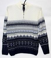 Шерстяной мужской свитер Pulltonic синяя абстракция