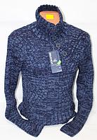 Тёплый молодежный мужской свитер синего цвета Color Fast