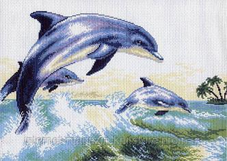 Канва с нанесенным рисунком Дельфины