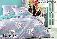Сатиновое постельное белье евро ELWAY 5044