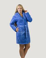 Банный халат женский короткий, плюшевая махра, Турция синий