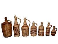 Бутылки плетеные из лозы