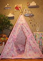 """Детский игровой домик, вигвам, палатка, шатер, шалаш """"Розовые сердечки"""""""