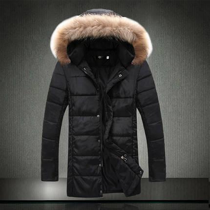 Удлиненная зимняя мужская куртка с меховым капюшоном, фото 2