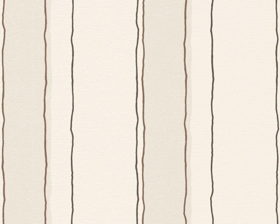 Обои светлые, с узкими коричневыми полосками 133533.