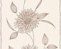 Обои пастельные, с графическим рисунком - цветы 133830.