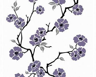 Обои с ветвями и цветами сакуры аметистового цвета 219947.