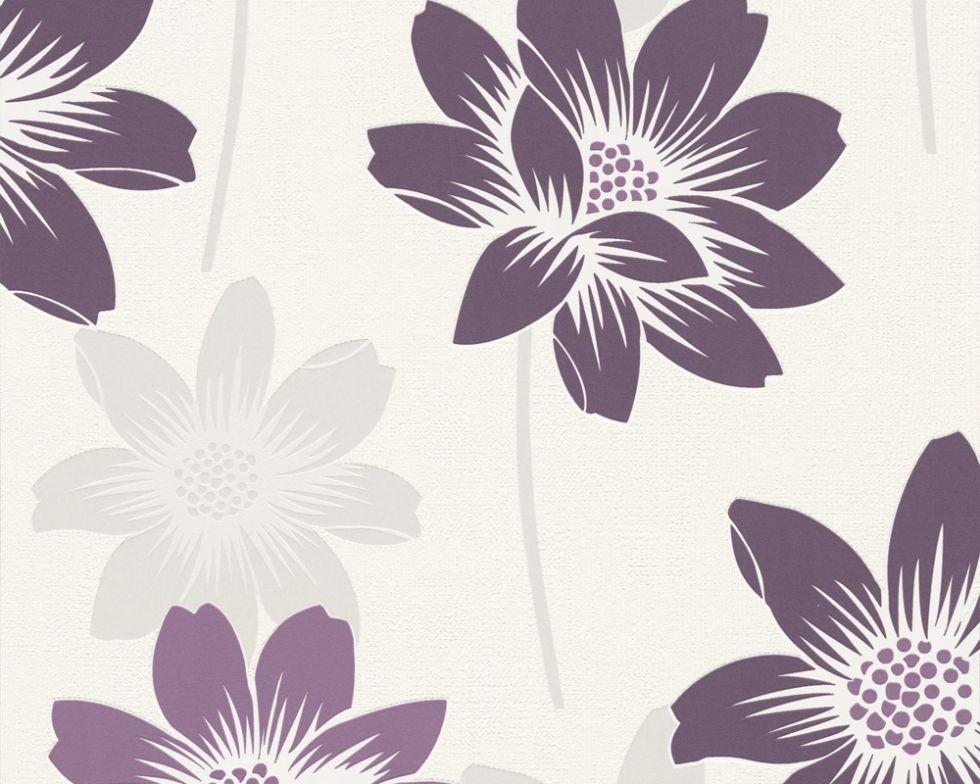 Фактурные моющиеся немецкие обои 290038, с большими и яркими фиолетовыми цветами лотоса на белом фоне