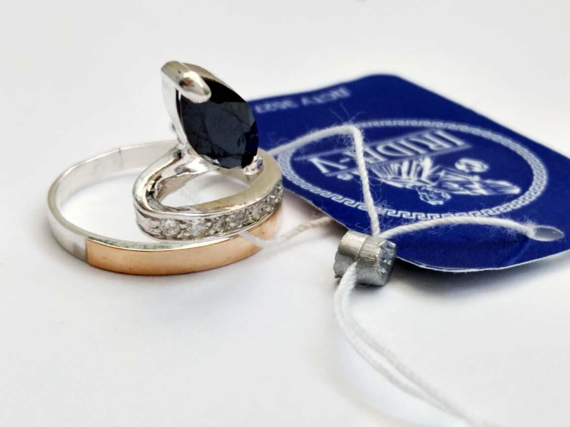 Серебряное кольцо с золотой вставкой Ольга 16,5