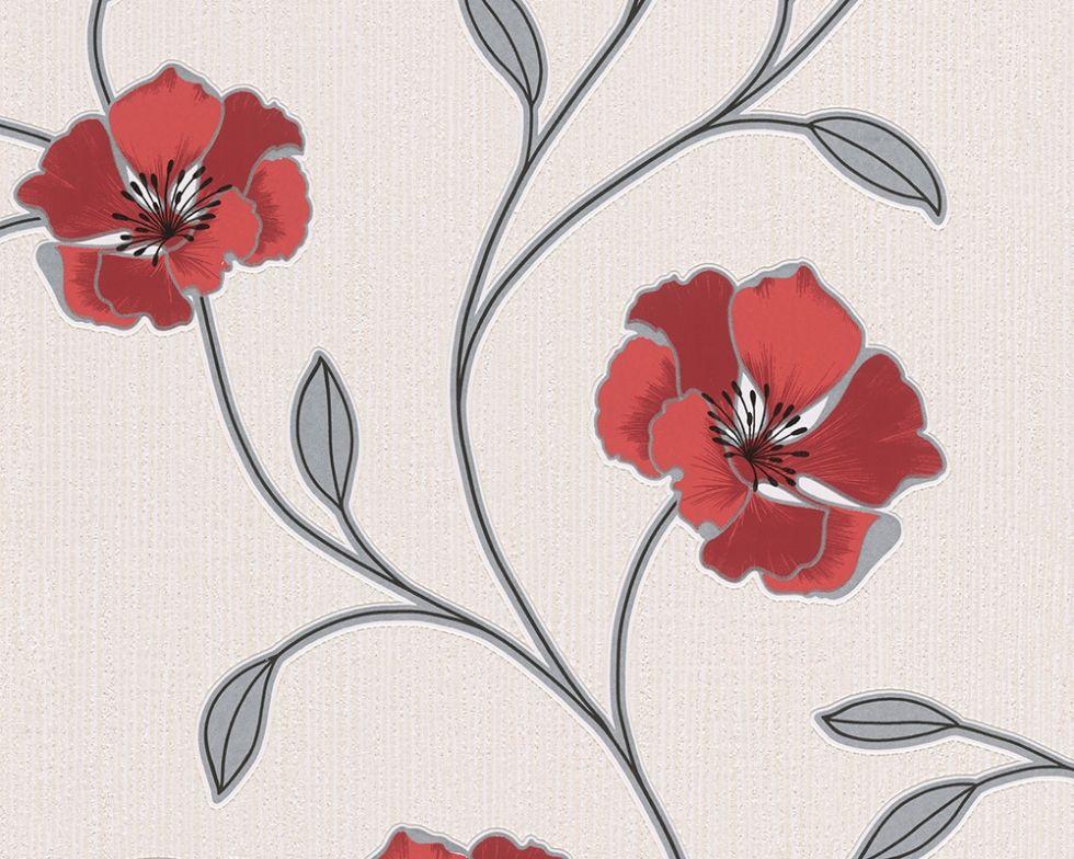 Миються німецькі шпалери з яскравими червоними квітами 292445 на кремовому тлі, вінілові на паперовій основі