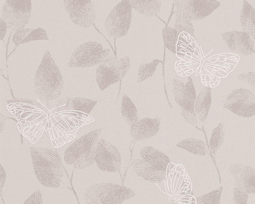 Обои пастельные - бабочки монохромных оттенков 304322.