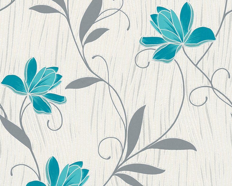 Фактурні німецькі шпалери 306210 з яскраво блакитними квітами на теплому білому, молочному тлі, вінілові для дівчинки