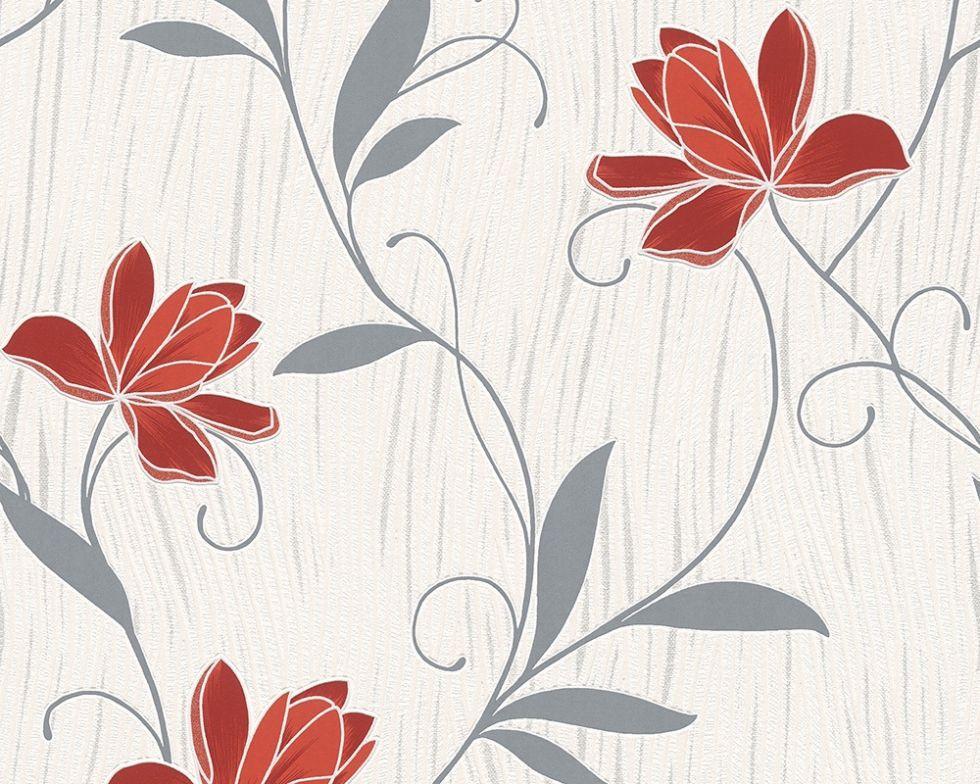 Фактурні німецькі шпалери 306227 з яскравими червоними квітами на теплому білому, молочному тлі, вінілові для дівчинки