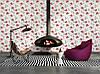Фактурні німецькі шпалери 306227 з яскравими червоними квітами на теплому білому, молочному тлі, вінілові для дівчинки, фото 9