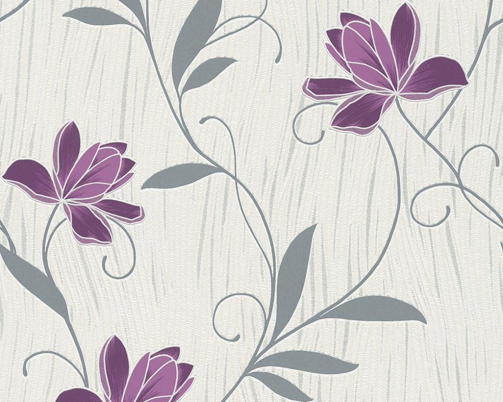 Фактурні німецькі шпалери 306234, з яскравими пурпуровими і фіолетовими квітами на теплому білому, молочному тлі