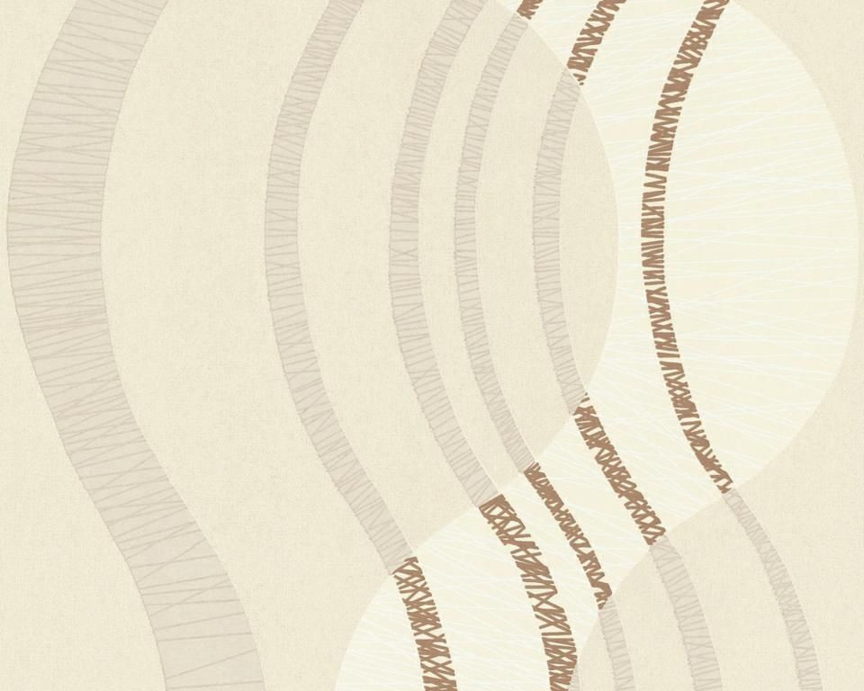 Светлые немецкие виниловые обои 585714, с абстрактной волнистой полосой, коричневый узор на пудровом фоне