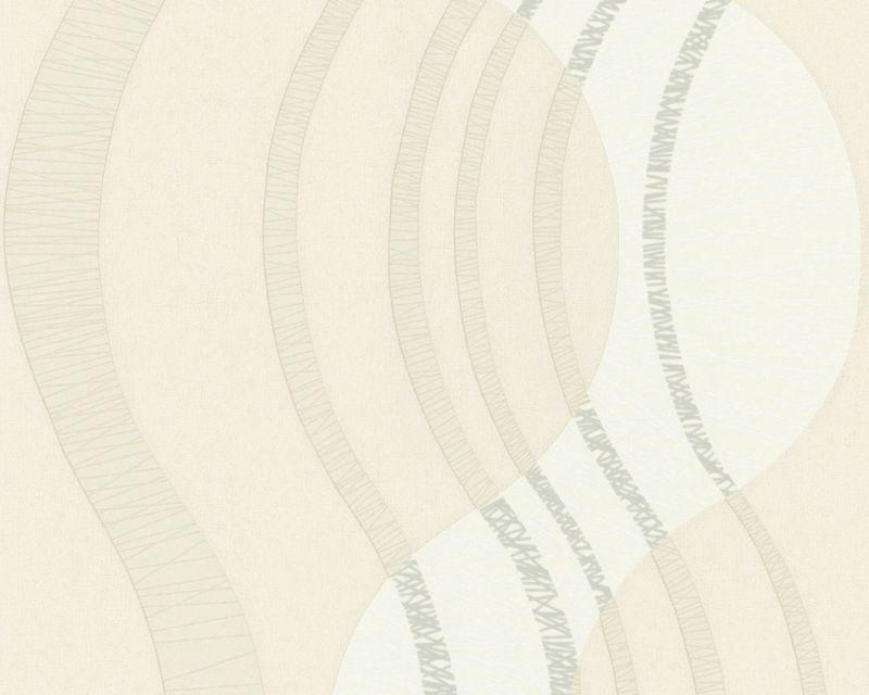 Абстрактные немецкие обои 585721, с волнообразным узором фисташкового цвета, в пастельных холодных оттенках