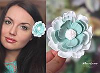 """Заколка цветок """"Воздушная мята"""". Авторская бижутерия. Украшение для волос"""