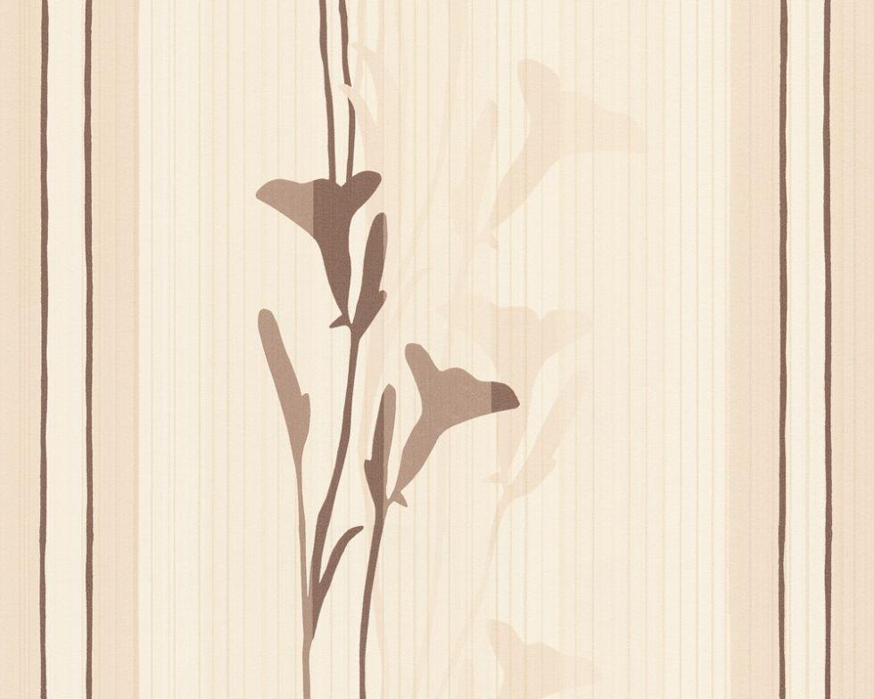 Обои пастельного оттенка, с узким рисунком цветов 897725.