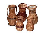 Плетеные цветочники, вазы из лозы оптом