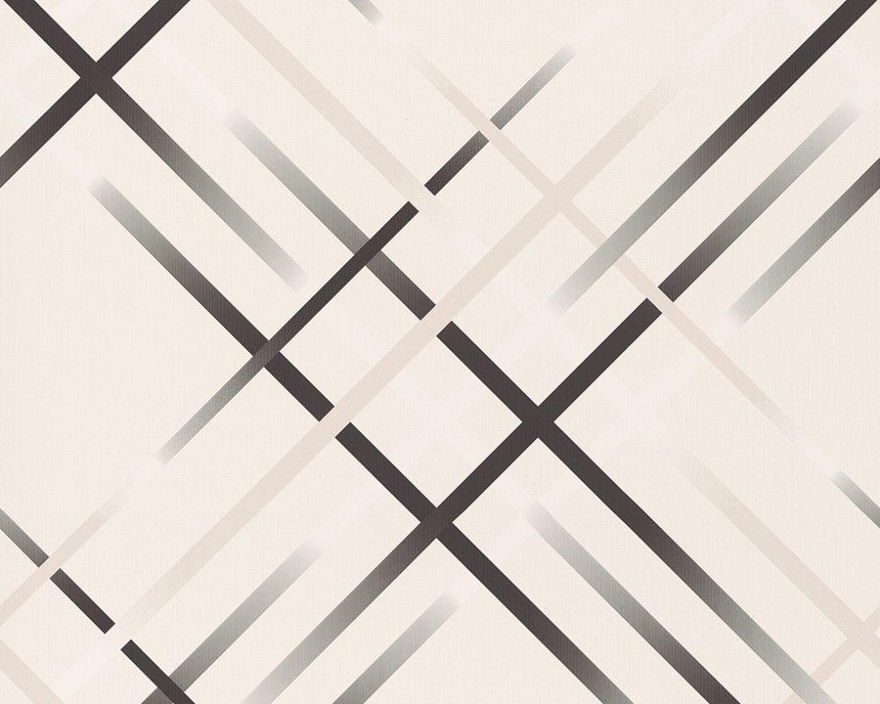 Обои виниловые, с черным геометрическим рисунком 943691.