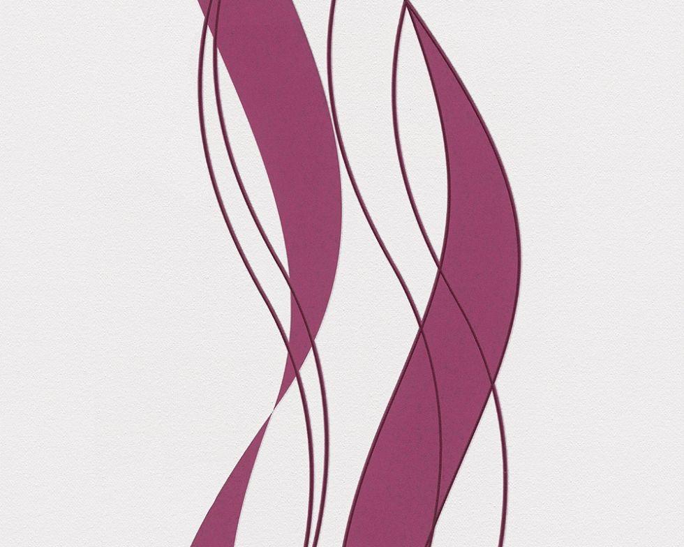 Яркие немецкие обои 935773, в широкую волнистую полоску, малинового цвета, моющиеся виниловые, на флизелиновой