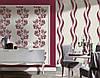 Яркие немецкие обои 935773, в широкую волнистую полоску, малинового цвета, моющиеся виниловые, на флизелиновой, фото 7