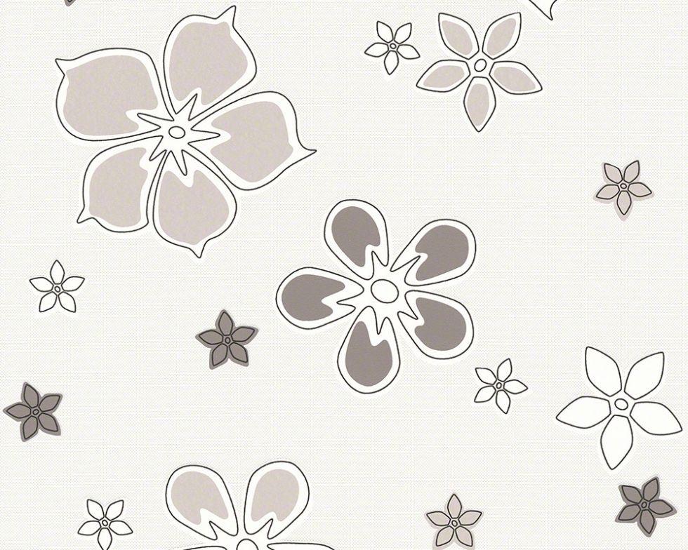 Світлі німецькі шпалери 938052, з сірими і світло-бежевими квітами на білому тлі, що миються, вінілові рулони
