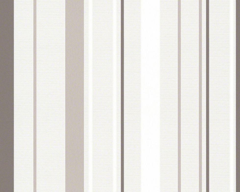Светлые и стильные немецкие обои 938062, в серую и серо-бежевую полоску на белом фоне, моющиеся виниловые