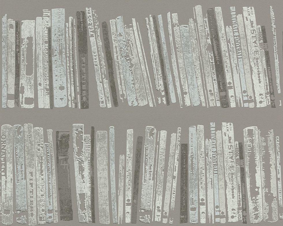Обои виниловые, с изображением книг на полках 944313.