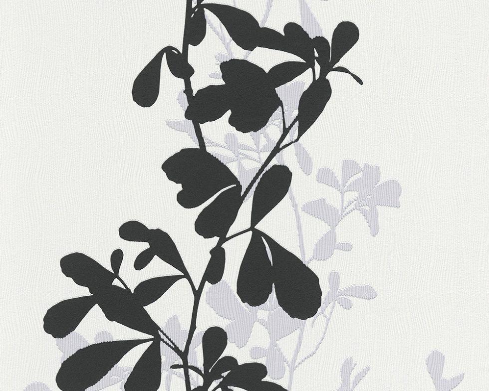 Фактурні німецькі чорно білі шпалери 946744, з контрастним чорним і сірим візерунком рослин, стебел і листя