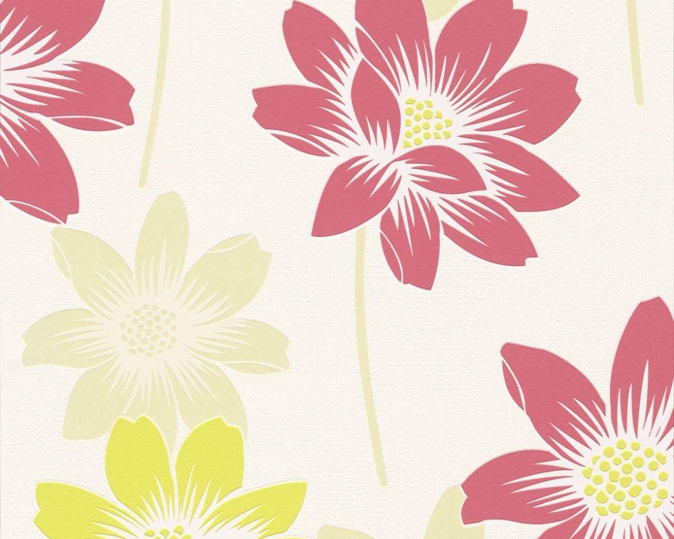Фактурні німецькі шпалери 290014, з великими яскраво-малиновими і пастельними жовтими квітами лотоса на білому