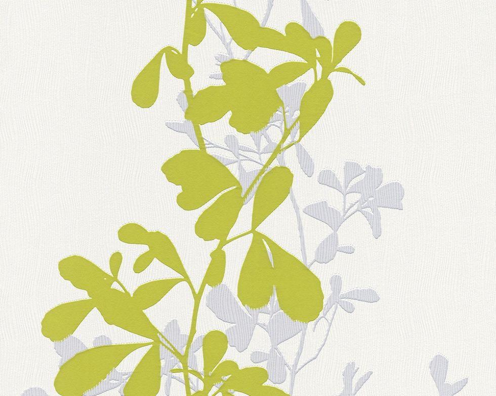 Немецкие моющиеся обои 946713 на флизелиновой основе с салатовыми и светло серыми растениями на белом фоне
