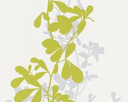 Обои яркие, с растительным рисунком салатовые 946713.