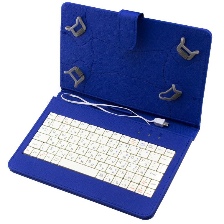 Универсальный чехол с клавиатурой к планшетам 7 Micro usb Blue