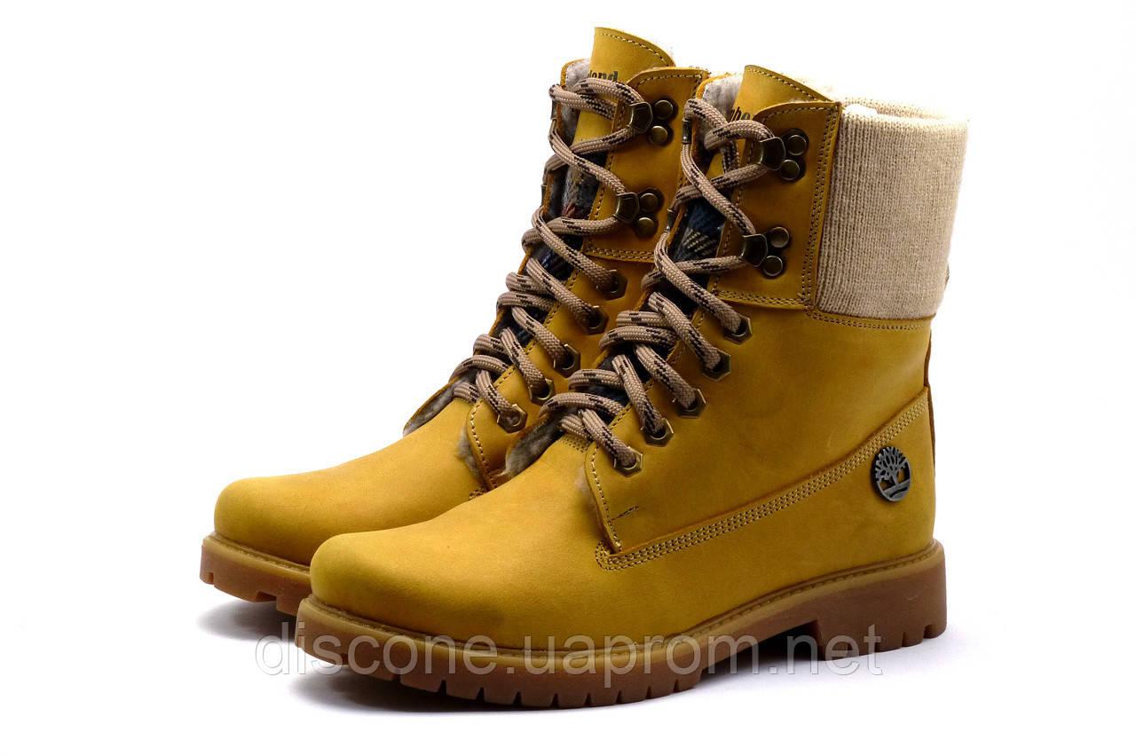 Зимние ботинки Timberland высокие, унисекс, песочные, натуральная кожа,р. 37 38 39 40 41