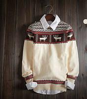 Новогодний классический мужской свитер с оленями