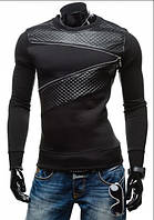 Мужская черная кофта-свитер с кожаными вставками