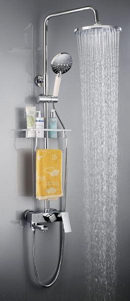 Стойка для душа с полочкой верхним душем смесителем и лейкой в ванную комнат