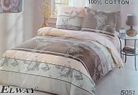 Сатиновое постельное белье евро ELWAY 5051
