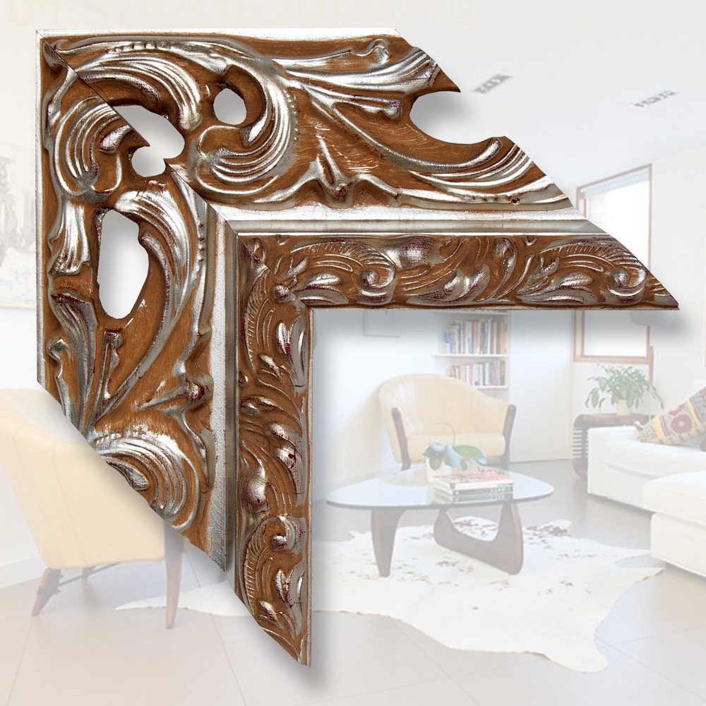 Зеркало в деревянном багете, матовое серебро